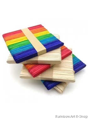 50 Pcs Natural / Assorted Colour Wooden Ice Cream Stick