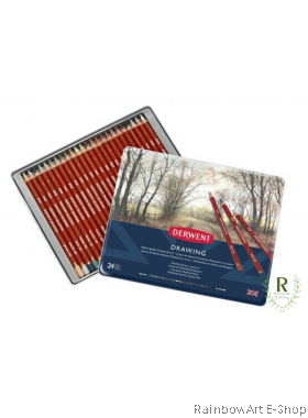 Derwent Colored Drawing Pencils, Metal Tin, 24 Colour
