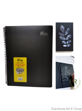 arto by CAMPAP A4 Wire-o PP Cover Sketch Book Black paper 140gsm